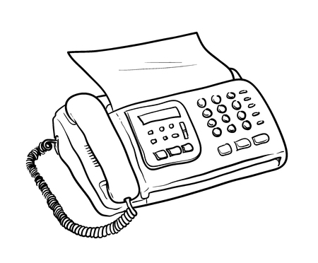 Fax Machine Vector, a hand drawn vector illustration of a fax machine with a sheet of paper.