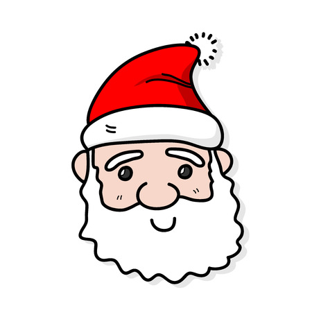 santa claus face: Santa Claus, a hand drawn vector illustration of a cute Santa Claus face.