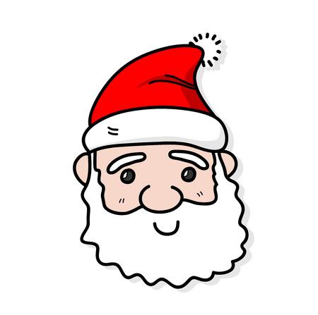 Santa Claus, a hand drawn vector illustration of a cute Santa Claus face.