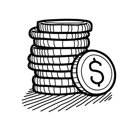 Stack of Coins Doodle (Dollar), a hand drawn vector doodle illustration of a stack of gold coins with Dollar currency sign on it.