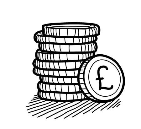pound sterling: Pila de monedas del Doodle (libra esterlina), un ejemplo del vector bosquejo dibujado mano de una pila de monedas de oro con la libra esterlina Muestra de dinero en ella.
