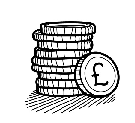 retirement savings: Stack of Coins Doodle (Pound Sterling), a hand drawn vector doodle illustration of a stack of gold coins with Pound Sterling currency sign on it.