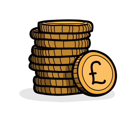pound sterling: Stack of Coins (Pound Sterling), a hand drawn vector illustration of a stack of gold coins with Pound Sterling currency sign on it.