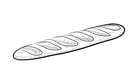Baguette Doodle, a hand drawn vector doodle illustration of a Baguette bread.