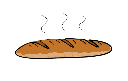 steamy: Baguette Bread, a hand drawn vector illustration of a steamy bread.
