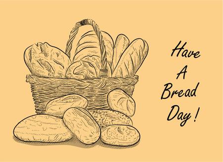 """Have A Day Bread, une illustration de vecteur tiré par la main d'un panier rempli de pain avec """"avoir un jour Pain» écrit à côté de lui."""