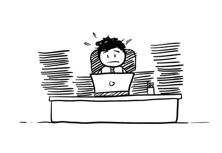 hectic life: Businessman Busy Doing Paperwork, a hand drawn vector doodle illustration of a businessman being busy doing a lot of paperwork.