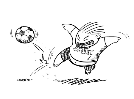 fat kid: Fat Kid Playing Football Doodle, a hand drawn vector doodle illustration of a fat kid playing footballsoccer.