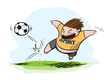 fat kid: Fat Kid Playing FootballSoccer, a hand drawn vector illustration of a fat kid playing footballsoccer (editable).