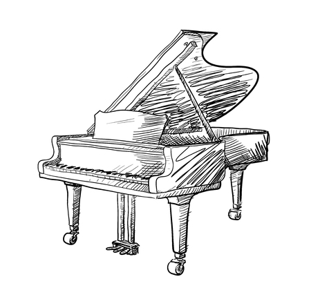 virtuoso: Grand Piano Doodle, a hand drawn vector doodle illustration of a grand piano.