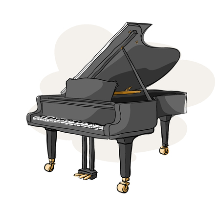 virtuoso: Grand Piano, a hand drawn vector illustration of a grand piano (isolated on a simple background).