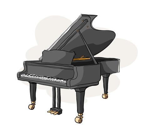 Grand Piano, une illustration de vecteur tiré par la main d'un grand piano (isolé sur un fond simple). Vecteurs
