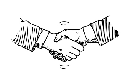 agreement shaking hands: Handshake Doodle, a hand drawn vector doodle illustration of hands shaking to a mutual agreement in a business partnership. Illustration