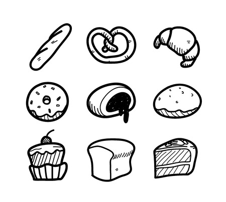 icon red: Bakery Icon Doodle Set, a set of hand drawn vector doodle illustration of bakery and patisserie elements. Illustration