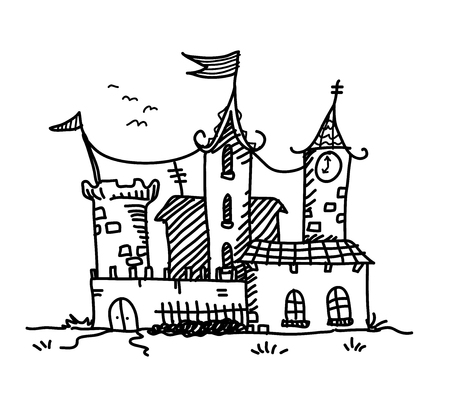 mansion: Medieval Mansion Doodle, doodle illustration of a medieval mansion building.