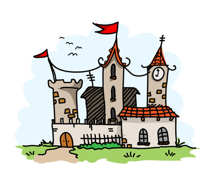 mansion: Medieval Mansion,  illustration of a medieval mansion building, main sketch, colors, and the background are on separate groups for easy editing.