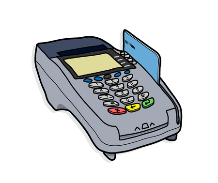 reader: Credit Card Reader,  illustration of a credit card reader.