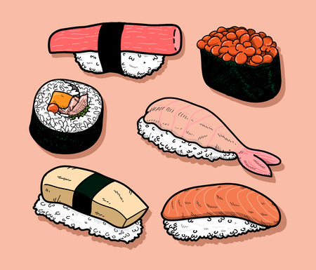 sake maki: Sushi Icon Set,  illustration of a set of sushi icons, isolated on a simple background and all of the objects are properly grouped separately for easy editing.