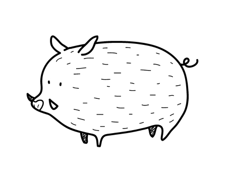 wild hog: Wild Boar Doodle, doodle illustration of a wild boar. Illustration