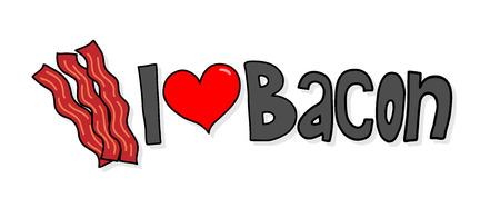 """I Love Bacon, een hand getrokken vectorillustratie van """"I Love Bacon"""" -logo met eenvoudige schaduwachtergronden (bewerkbaar)."""
