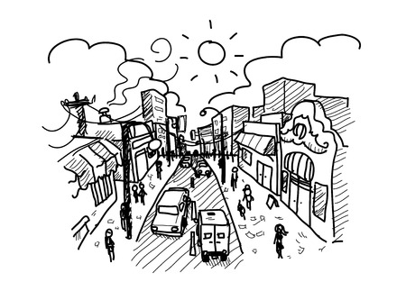 busy city: Bustling City, a hand drawn vector illustration of a busy city with pedestrians walking on the streets and all kinds of activities going on around.