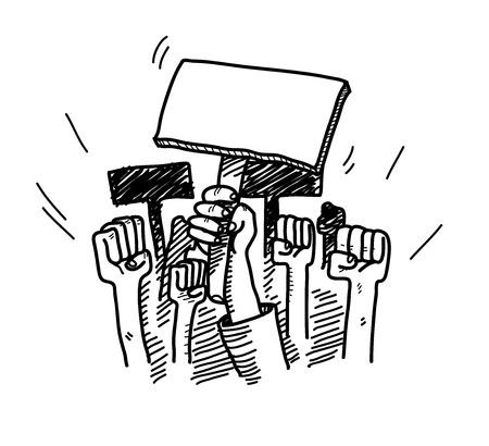 Protesteren, een hand getekend vector doodle illustratie van mensen protesteren over iets, kon de lege protest bord gevuld worden met tekst van uw keuze.