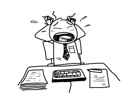 Stress At Work, a hand drawn vector doodle illustration of a worker feeling stressed out because of his job. Vetores