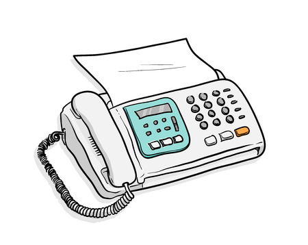 communication cartoon: Fax Telephone, a hand drawn vector illustration of a fax telephone machine with a sheet of paper in it. Illustration