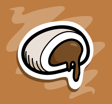 eclair: Chocolate Candy, a hand drawn vector illustration of a candy filled with chocolate cream, main object, white outline, dark outline, and the background are on separate groups for easy editing.