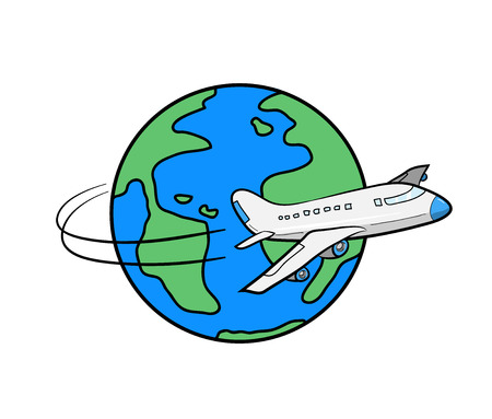 Travel Around the World, a hand drawn vector illustration of an airplane flying around the globe, all graphic main objects are on separate groups for easy editing.