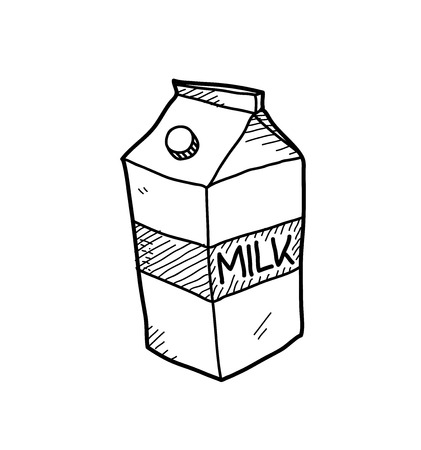 carton de leche: Doodle del cartón de leche, un ejemplo del vector bosquejo dibujado mano de un paquete de cartón de leche. Vectores