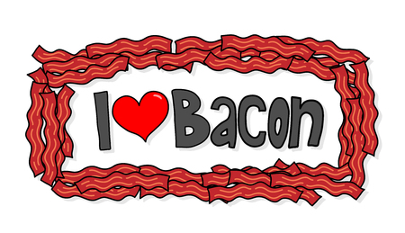 bacon love: I Love Bacon, a hand drawn vector illustration of I Love Bacon logo with lots of bacon as its frame on simple shadow backdrops (editable).