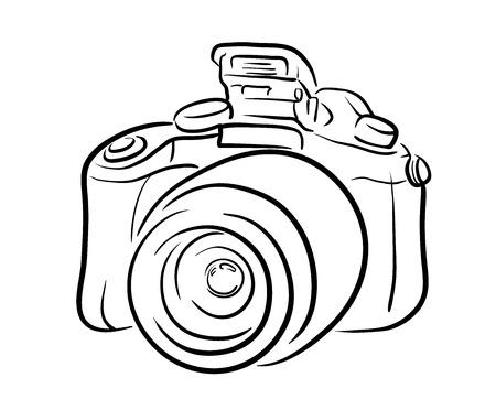 デジタル一眼レフ カメラのライン アート、デジタル一眼レフ カメラ、会社のロゴや写真プロジェクトの図に最適の手描きベクトル ライン アート