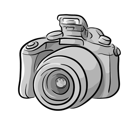 dslr: DSLR Camera, a hand drawn vector illustration of a DSLR camera, the main sketch and colors are on separate groups for easy editing.