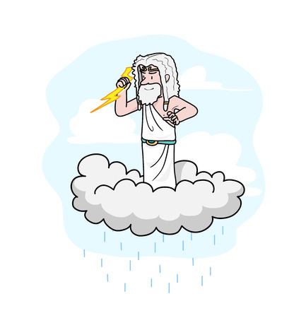 greek god: Zeus, a hand drawn vector cartoon illustration of a Greek god, Zeus, standing on a cloud, holding a thunder (the background and raindrops are on separate groups for easy editing).
