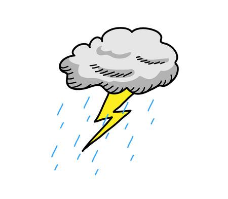Thunderstorm Cloud, a hand drawn vector cartoon illustration of a cloud thunder with rain. 向量圖像