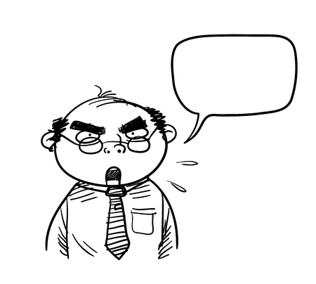 narration: Grumpy Boss, a hand drawn vector cartoon illustration of a grumpy boss with a blank narration bubble. Illustration