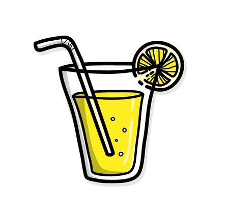 lemon juice: Lemon Juice, a hand drawn vector illustration of a lemon juice. Illustration