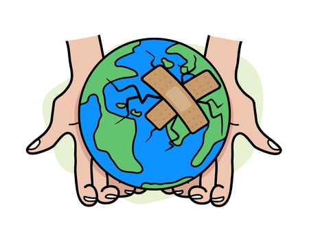 patched: Heal the World, a hand drawn vector illustration of the earth, damaged, and patched using bandages. isolated on a simple background (editable).