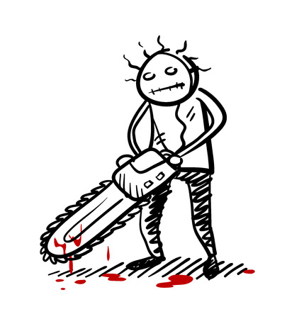 Psycho Killer, a hand drawn vector doodle illustration of a psychopath killer wielding a chainsaw with blood dripping from it.