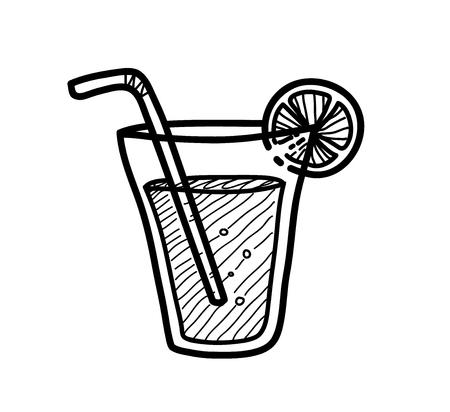 lemon juice: Lemon Juice Doodle, a hand drawn vector doodle illustration of a lemon juice. Illustration