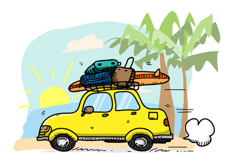 car lots: Beach Vacation, a vector illustration of a car travelling to the beach with lots of luggage and a surfboard on top of it, main sketch, colors, and background are on separate groups foe easy editing.