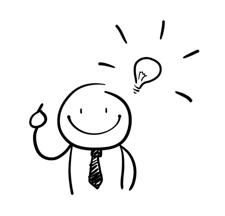 smart thinking: Creativity at Work Doodle, a hand drawn vector doodle illustration of a stick figure with an idea.
