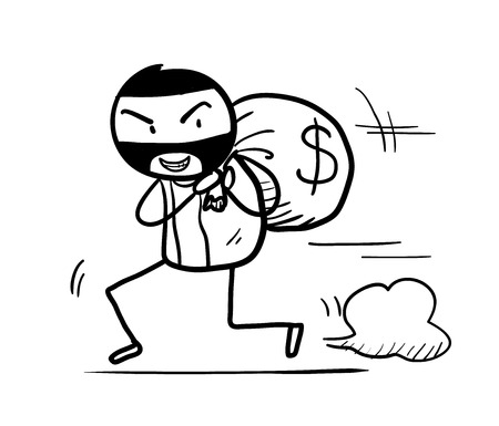 Money Theft Doodle, a hand drawn vector doodle illustration of a money theft running away with a bag full of cash.