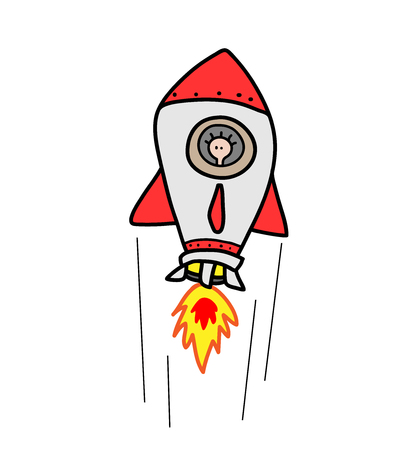 space rocket: Space Rocket, a hand drawn vector illustration of a red space rocket flying with someone inside. Illustration