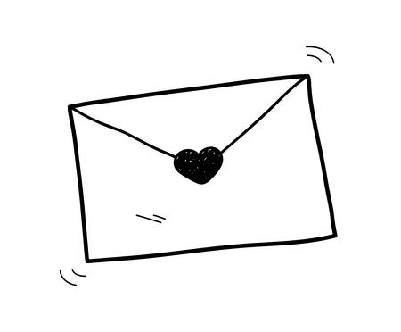 love letter: Carta de amor del Doodle, un ejemplo del vector bosquejo dibujado mano de una carta de amor.