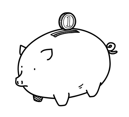 personal banking: Piggy Bank Doodle, a hand drawn vector doodle illustration of a piggy bank and a coin, illustrating a personal savings, banking, or investment concepts.
