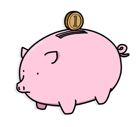 personal banking: Piggy Bank, a hand drawn vector illustration of a piggy bank and a coin, illustrating a personal savings, banking, or investment concepts, isolated on a shadow backdrop (editable). Illustration