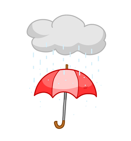 rainy day: Rainy Season, a hand drawn vector illustration of an umbrella on a rainy day (the umbrella, raindrops, and the cloud are on separate groups for easy editing).