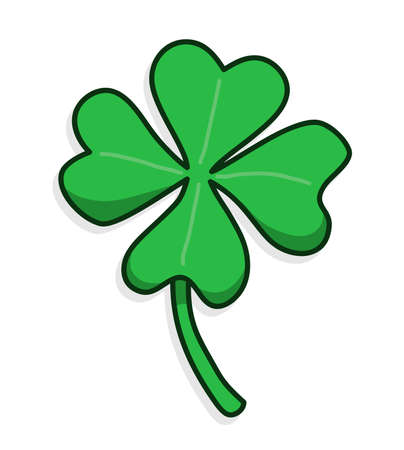 Lucky symbol of four leaves clover, vector drawing.